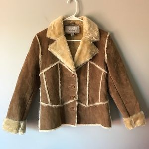Wilson Leather tan leather shearling jacket sz S